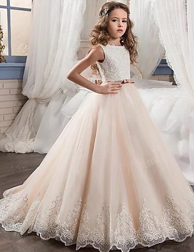 preiswerte Baby & Kinder-Kinder Mädchen nette Art Solide Kleid Beige / Baumwolle