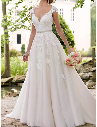 cheap Wedding Dresses-A-Line V Neck Sweep / Brush Train Lace / Tulle Regular Straps Formal / Mordern Illusion Detail Wedding Dresses with Sashes / Ribbons / Crystals / Lace Insert 2020