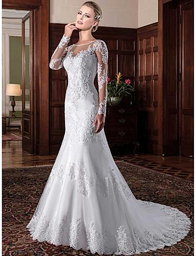 cheap Wedding Dresses-Mermaid / Trumpet Jewel Neck Chapel Train Lace / Tulle / Lace Over Satin Long Sleeve Formal See-Through / Sexy / Beautiful Back Wedding Dresses with Lace / Pearls 2020 / Bell Sleeve