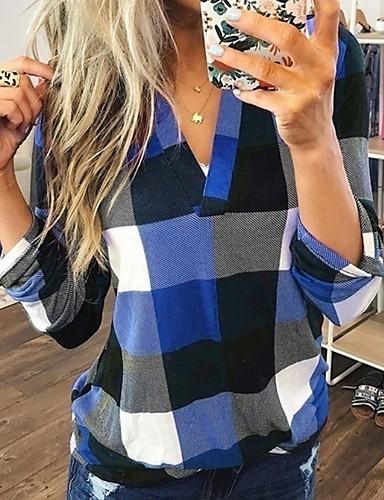 billige Dametopper-V-hals Store størrelser Skjorte Dame - Ruter Blå