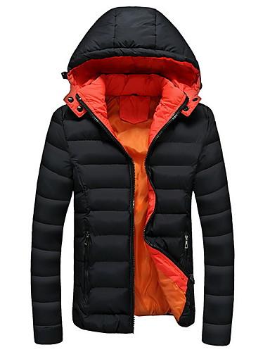 levne Pánské kabáty a parky-Pánské Jednobarevné S vycpávkou, Polyester Černá / Vodní modrá / Námořnická modř US32 / UK32 / EU40 / US34 / UK34 / EU42 / US36 / UK36 / EU44