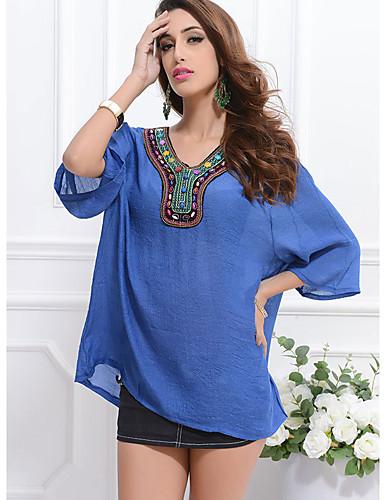 billige Dametopper-T-skjorte Dame - Ensfarget, Trykt mønster Hvit / Blå Hvit