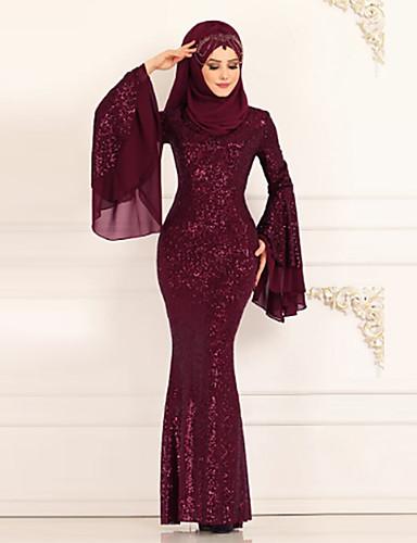 preiswerte Paillettenkleider-Damen Trompete / Meerjungfrau Kleid Solide Maxi