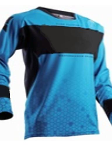 povoljno Odjeća za vožnju biciklom-Muškarci Dugih rukava Biciklistička majica Downhill Jersey Dirt Bike Jersey Plava Geometic Bicikl Biciklistička majica Odjeća za motocikle Majice Brdski biciklizam biciklom na cesti Ugrijati / Zima