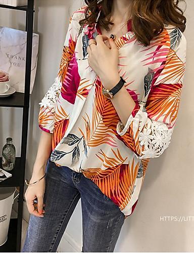 billige Dametopper-Skjorte Dame - Grafisk, Flettet / Lapper Grunnleggende Tropisk blad Rød