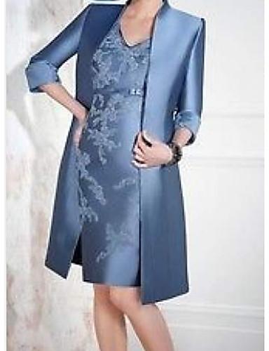 voordelige Wrap Dresses-A-lijn / Tweedelig V-hals Tot de knie Satijn Bruidsmoederjurken met Appliqués / Sjerp / Lint door LAN TING Express / Wrap inbegrepen