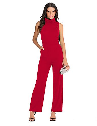 billige Jumpsuits og sparkebukser til damer-Dame Sofistikert Svart Blå Rød Kjeledresser, Ensfarget S M L