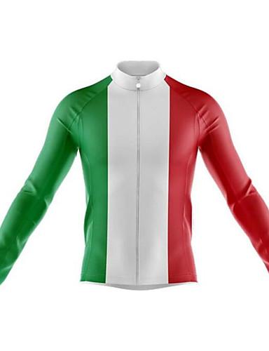 povoljno Odjeća za vožnju biciklom-21Grams Meksiko Državne zastave Muškarci Dugih rukava Biciklistička majica - Red / White Bicikl Biciklistička majica Majice Ugrijati UV otporan Prozračnost Sportski Zima 100% poliester Brdski