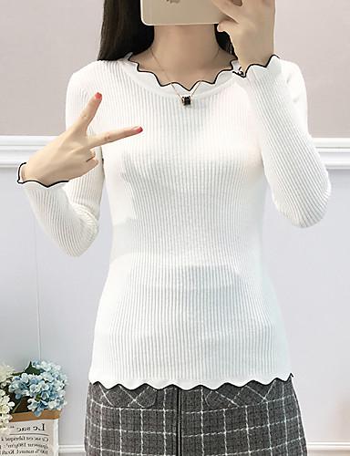 preiswerte Damen Oberteile-Damen Solide - Street Schick / Elegant T-shirt Schwarz