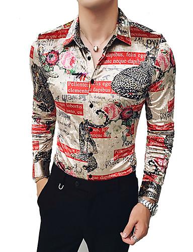voordelige Herenoverhemden-Heren Street chic / Elegant Print Overhemd Geometrisch / Luipaard / Grafisch Khaki