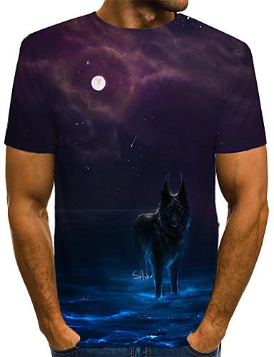 voordelige Uitverkoop-Heren Vintage / Rock Print T-shirt Heelal / 3D / dier Wolf Regenboog