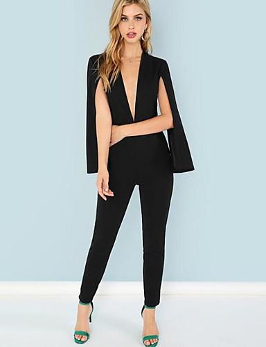 billige Jumpsuits og sparkebukser til damer-Dame Sofistikert Svart Kjeledresser, Ensfarget Lapper / Snorer S M L