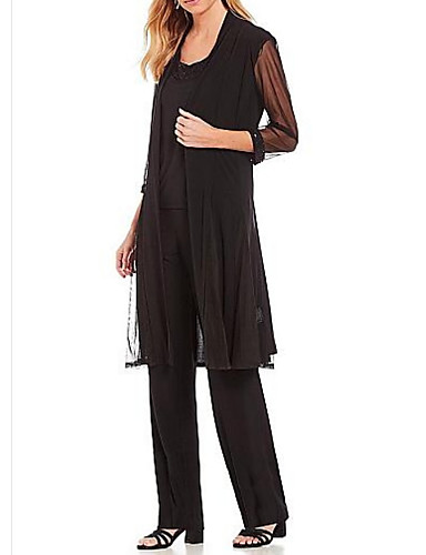 voordelige Wrap Dresses-Tweedelig / pantsuit Met sieraad Tot de grond Chiffon Bruidsmoederjurken met Ruches door LAN TING Express / Wrap inbegrepen