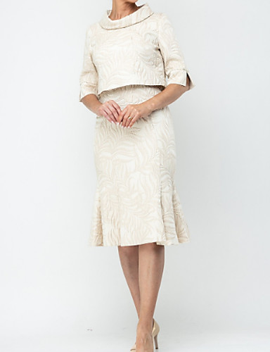 voordelige Wrap Dresses-Tweedelig V-hals Tot de knie Satijn Bruidsmoederjurken met Ruches door LAN TING Express / Wrap inbegrepen