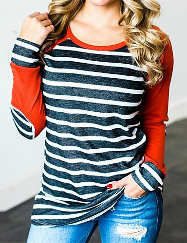 billige T-skjorter til damer-Bomull T-skjorte Dame - Stripet, Lapper / Trykt mønster Vintage / Grunnleggende Oransje
