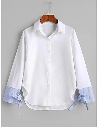 billige Dametopper-tunika Dame - Fargeblokk, Lapper Grunnleggende / Gatemote BLå & Hvit Hvit
