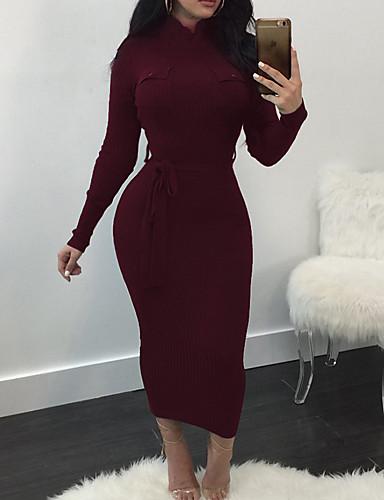 levne Maxi šaty-Dámské Šik ven Elegantní Bodycon Pouzdro Úplet Šaty - Jednobarevné, Šněrování Maxi
