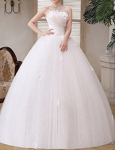 cheap Wedding Dresses-A-Line Strapless Floor Length Tulle Strapless Glamorous Illusion Detail Wedding Dresses with Crystals / Appliques 2020