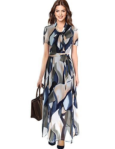 levne Maxi šaty-Dámské Sofistikované Elegantní Shift Šaty - Květinový Geometrický, Tisk Maxi