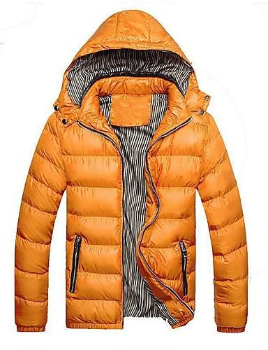 levne Pánské kabáty a parky-Pánské Jednobarevné S vycpávkou, Polyester Černá / Fialová / Oranžová US32 / UK32 / EU40 / US34 / UK34 / EU42 / US36 / UK36 / EU44