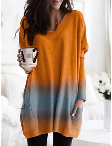 billige Dametopper-Bluse Dame - Ensfarget Grunnleggende Oransje
