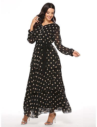 voordelige Maxi-jurken-Dames Boho Elegant Chiffon Wijd uitlopend Jurk - Polka dot, Meerlaags Print Trekkoord Maxi