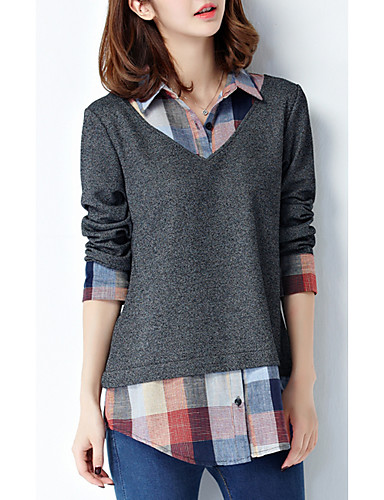 billige Skjorter til damer-Skjorte Dame - Fargeblokk, Lapper Svart