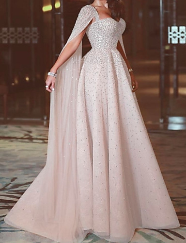 cheap Special Occasion Dresses-A-Line Elegant Formal Evening Dress Sweetheart Neckline Sleeveless Sweep / Brush Train Chiffon with Beading 2020