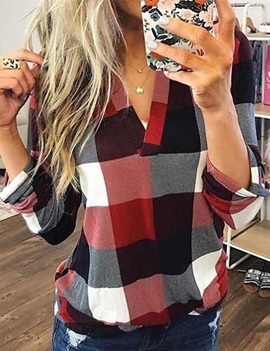 billige Skjorter til damer-Skjorte Dame - Geometrisk, Trykt mønster Grunnleggende / Gatemote Blå