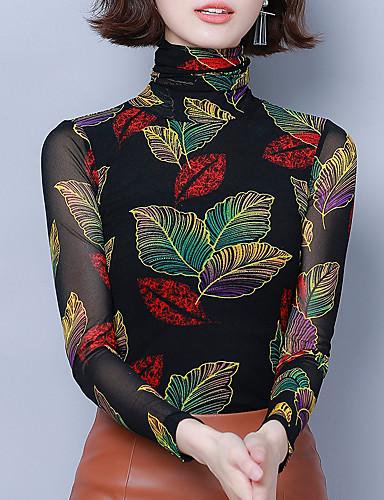 billige Skjorter til damer-Skjorte Dame - Blomstret / Grafisk, Trykt mønster Vintage / Elegant Tropisk blad Fuksia