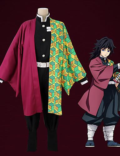 povoljno Anime cosplay-Inspirirana Ubojica demona: Kimetsu no Yaiba Cosplay Anime Cosplay nošnje Japanski Cosplay Suits Kaput / Hlače / Remen Za Muškarci / 1 paket