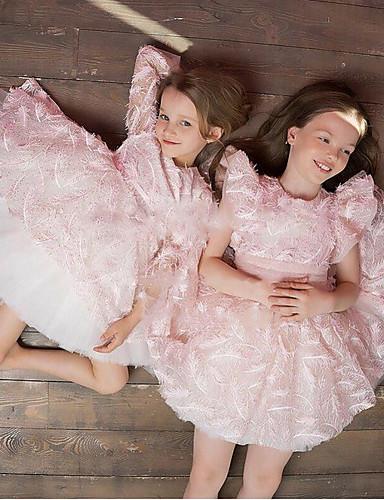 preiswerte Baby & Kinder-Kinder Mädchen nette Art Solide Kleid Rosa