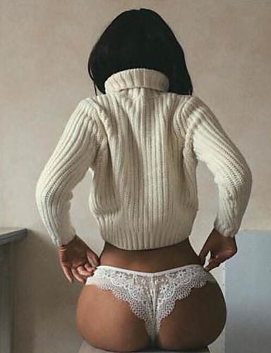 Жен. Кружева Комбинация Ночное белье Однотонный Черный Белый S M L