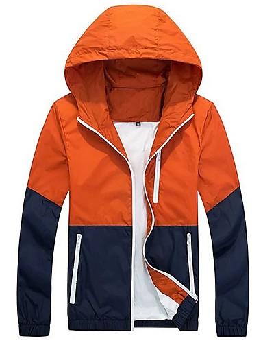 levne Pánská saka a kabáty-Pánské Denní Podzim zima Standardní Bunda, Barevné bloky Kapuce Dlouhý rukáv Polyester Oranžová / Armádní zelená / Námořnická modř
