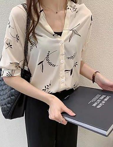 billige Dametopper-Bluse Dame - Geometrisk Grunnleggende Svart