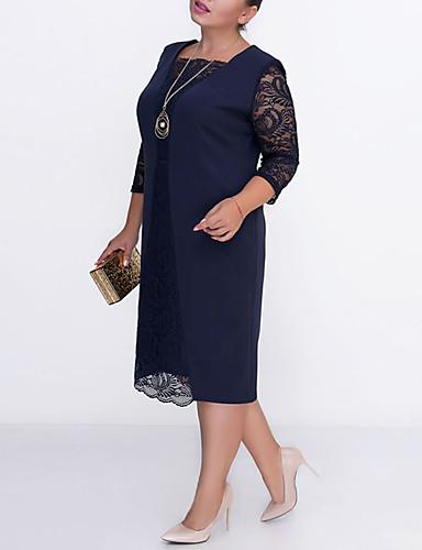 Жен. Классический Оболочка Платье - Однотонный До колена