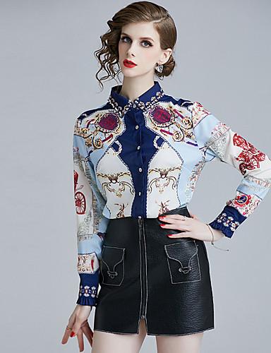 billige Skjorter til damer-Skjorte Dame - Geometrisk, Trykt mønster Bohem BLå & Hvit Hvit