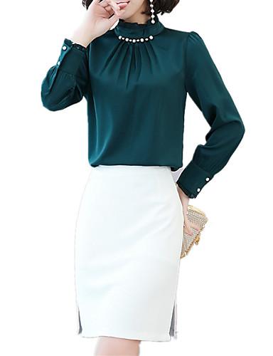 billige Dametopper-Skjorte Dame - Ensfarget, Drapering / Lapper Elegant Hvit