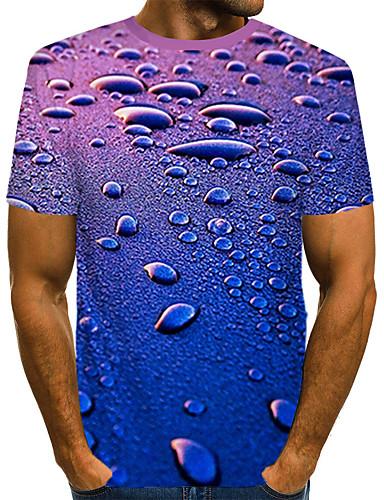 voordelige Heren T-shirts & tanktops-Heren Street chic / overdreven Print T-shirt Kleurenblok / 3D Marine Blauw