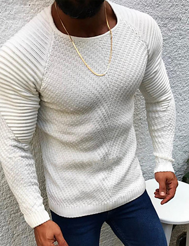 cheap Top Sellers-Men's Solid Colored Pullover Long Sleeve Sweater Cardigans Round Neck White Camel Gray