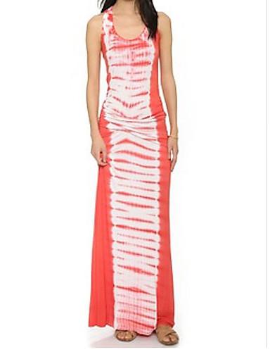 voordelige Maxi-jurken-Dames Standaard Schede Jurk - Gestreept, Print Maxi Rood