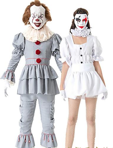 preiswerte Damenbekleidung-Clown Cosplay Kostüme Austattungen Maskerade Erwachsene Paar Cosplay Halloween Halloween Fest / Feiertage Polyester Weiß / Grau Paar Karneval Kostüme
