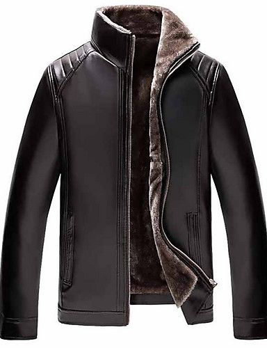 cheap Men's Outerwear-Men's Daily Regular Leather Jacket, Solid Colored Stand Long Sleeve PU Black