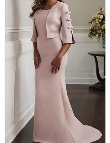voordelige Wrap Dresses-Strak / kolom / Tweedelig Met sieraad Strijksleep Polyester Bruidsmoederjurken met Strik(ken) door LAN TING Express