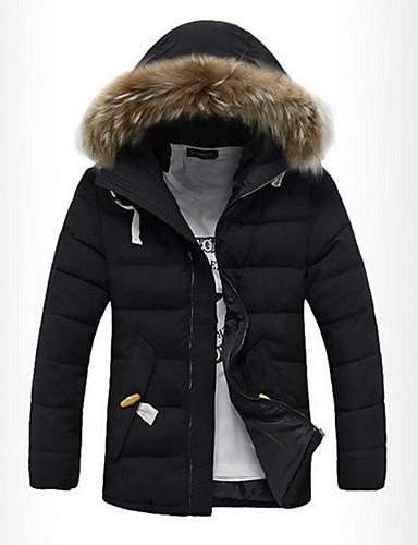 levne Pánské kabáty a parky-Pánské Jednobarevné S vycpávkou, Polyester Černá / Vodní modrá / Khaki US32 / UK32 / EU40 / US34 / UK34 / EU42 / US36 / UK36 / EU44