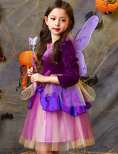 voordelige Uitverkoop-Kinderen Meisjes Kleurenblok Halloween Netstof 3/4 mouw Tot de knie Jurk Paars