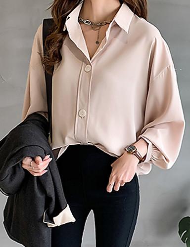 billige Dametopper-Skjorte Dame - Ensfarget Grunnleggende Blå