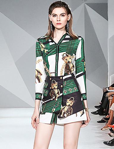 billige Todelt dress til damer-Dame Sofistikert Skjorte Skjørt - Trykt mønster, Fargeblokk
