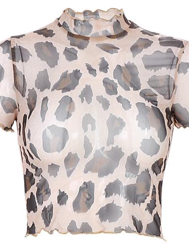 billige Dametopper-T-skjorte Dame - Blomstret, Trykt mønster Grunnleggende Tusenfryd Svart