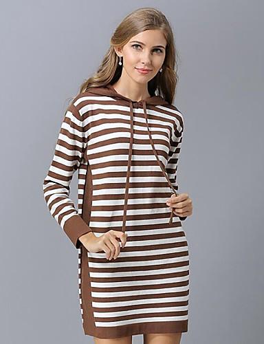 billige Dametopper-Dame Stripet Langermet Løstsittende Pullover Genserjumper, Med hette Svart / Vin / Kamel En Størrelse